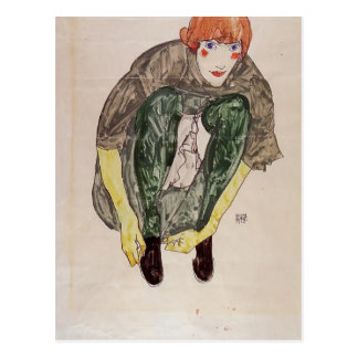 Egon Schiele- Crouching Figure (Valerie Neuzil) Postcard