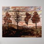 Egon Schiele - cuatro árboles Póster