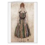 Egon Schiele - Edith Schiele en el vestido rayado  Felicitaciones
