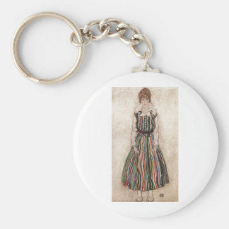 Egon Schiele - Edith Schiele in Striped Dress 1915 Keychain