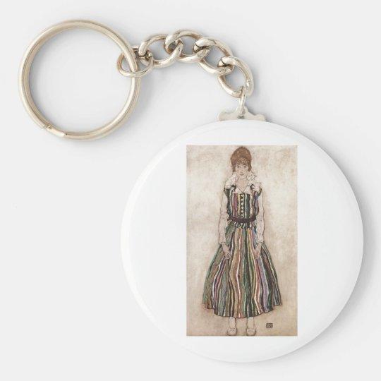 Egon Schiele - Edith Schiele in Striped Dress 1915 Keychain