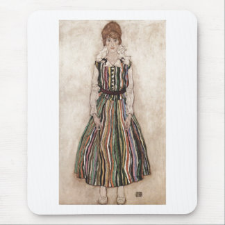 Egon Schiele - Edith Schiele in Striped Dress 1915 Mouse Pad