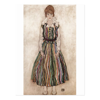Egon Schiele - Edith Schiele in Striped Dress 1915 Postcard