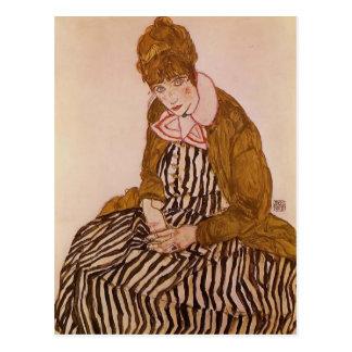 Egon Schiele- Edith Schiele, Seated Postcard