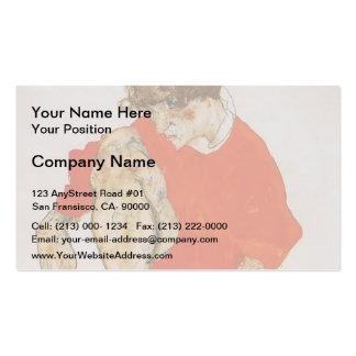 Egon Schiele-Female Model in Red Jacket & Pants Business Card