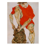 Egon Schiele-Female Model in Red Jacket & Pants Postcards