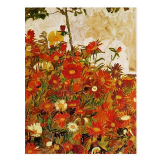 Egon Schiele- Field of Flowers Postcard