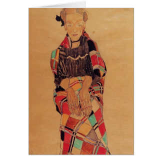 Egon Schiele- Girl in Black Pinafore Card