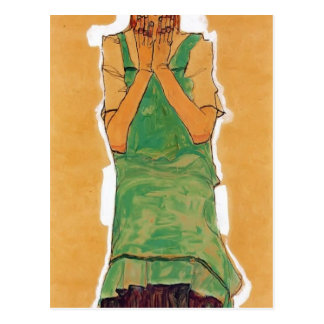 Egon Schiele- Girl with Green Pinafore Postcard