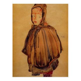 Egon Schiele- Girl with Hood Postcard