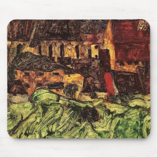 Egon Schiele- Meadow, Church and Houses Mouse Pad