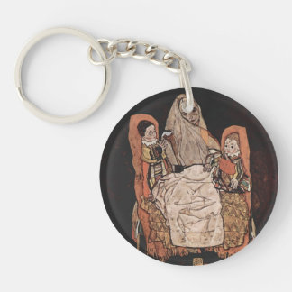 Egon Schiele- Mother with Two Children Single-Sided Round Acrylic Keychain