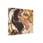 Egon Schiele - muerte y la mujer Impresión En Lona Estirada