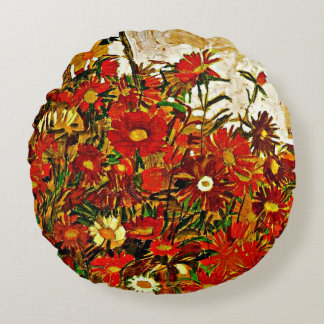 Egon Schiele painting, Field of Flowers Round Pillow