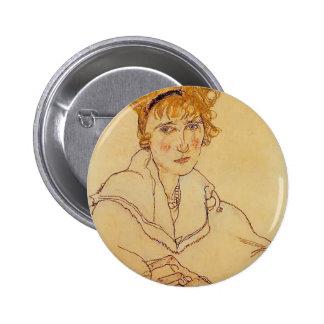 Egon Schiele- Portrait of Edith Schiele Button
