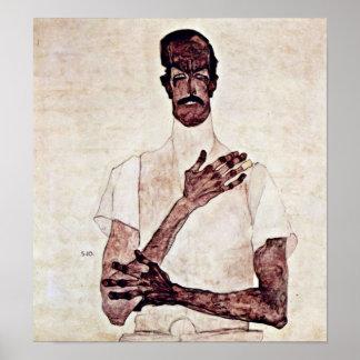 Egon Schiele - retrato de Erwin von Graff Póster