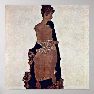 Egon Schiele - retrato de Gertrudis Schiele Poster