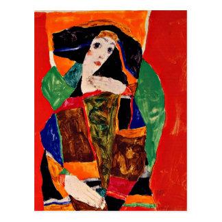 Egon Schiele - retrato de una mujer Postal