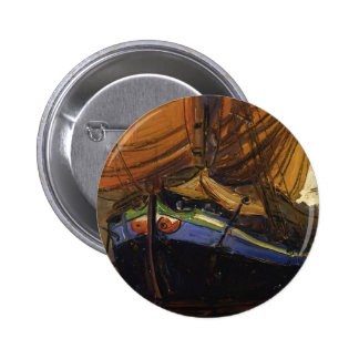 Egon Schiele-Sailing Boat with Reflection in Water Pinback Button