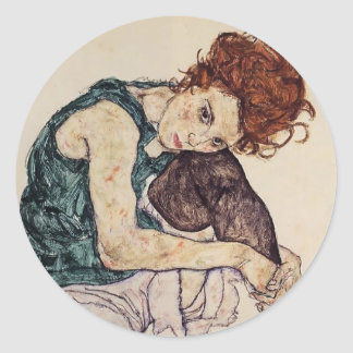 Egon Schiele- Seated Woman with Bent Knee Classic Round Sticker