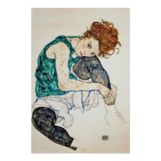 Egon Schiele Seated Woman with Bent Knee Poster