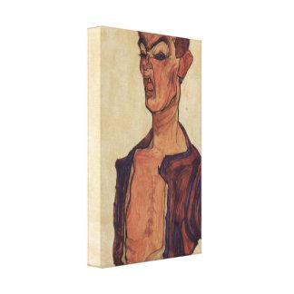 Egon Schiele - Self-Portrait a grimace scissoring Canvas Print