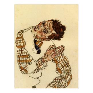 Egon Schiele- Self Portrait with Checkered Shirt Postcard