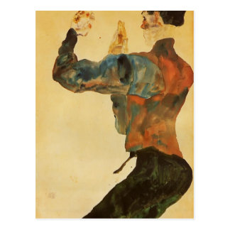 Egon Schiele- Self Portrait with Raised Arms Postcard