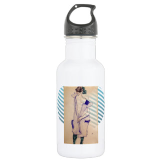 Egon Schiele- Standing Girl in a Blue and Green 18oz Water Bottle