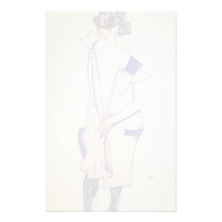 Egon Schiele- Standing Girl in a Blue and Green Custom Stationery