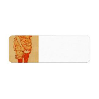 Egon Schiele- Standing Woman in Red Return Address Labels