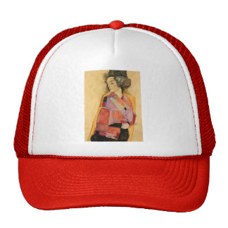Egon Schiele- The Daydreamer (Gerti Schiele) Mesh Hats