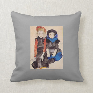 Egon Schiele- Two Little Girls Throw Pillows