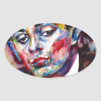 egon schiele - watercolor portrait oval sticker