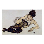 Egon Schiele - Woman with Green Stockings Posters
