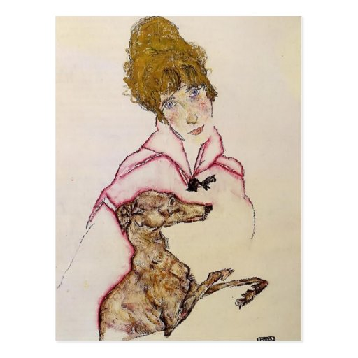 Egon Schiele- Woman with Greyhound (Edith Schiele) Post Cards