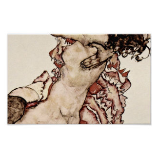 Egon Schiele - Women embracing each other Print