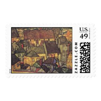 Egon Schiele Yellow Houses Postage Stamps
