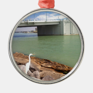Egret and a Bridge Metal Ornament