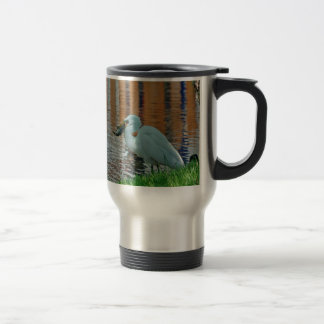 Egret and its catch 15 oz stainless steel travel mug