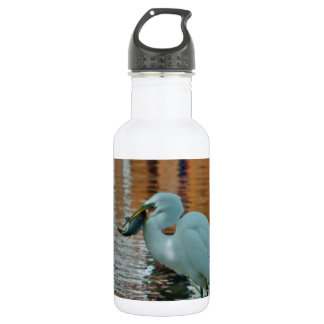 Egret and its catch 18oz water bottle