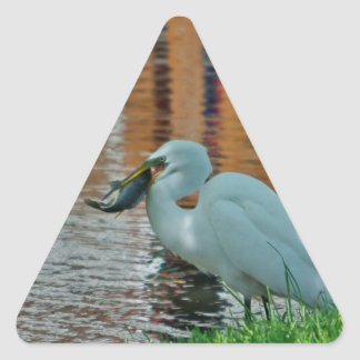Egret and its catch triangle sticker
