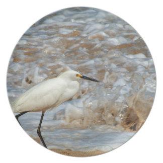 Egret and Wave Splash Dinner Plate