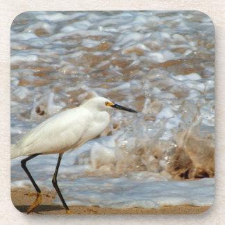 Egret and Wave Splash Drink Coaster