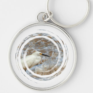 Egret and Wave Splash Silver-Colored Round Keychain