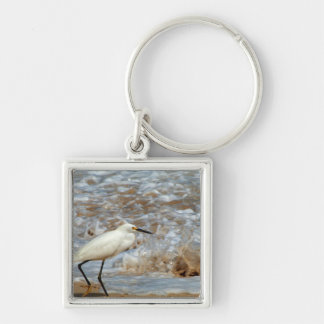 Egret and Wave Splash Silver-Colored Square Keychain