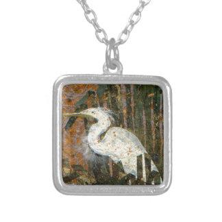 Egret At Sunset Square Pendant Necklace