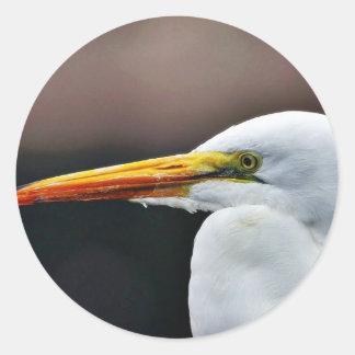 Egret Bird Animal Round Stickers