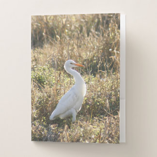 Egret Bird in the Meadows Pocket Folders