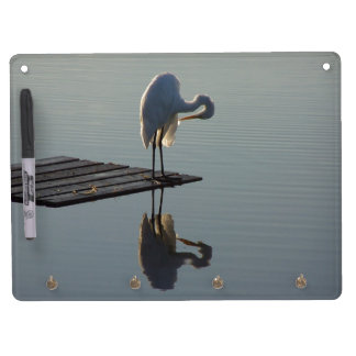 Egret Birds Wildlife Animal Photography Dry Erase Board With Keychain Holder
